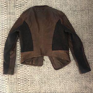 Via Spiga Jackets & Coats - Leather Cashmere Jacket Via Spiga M brown Grey